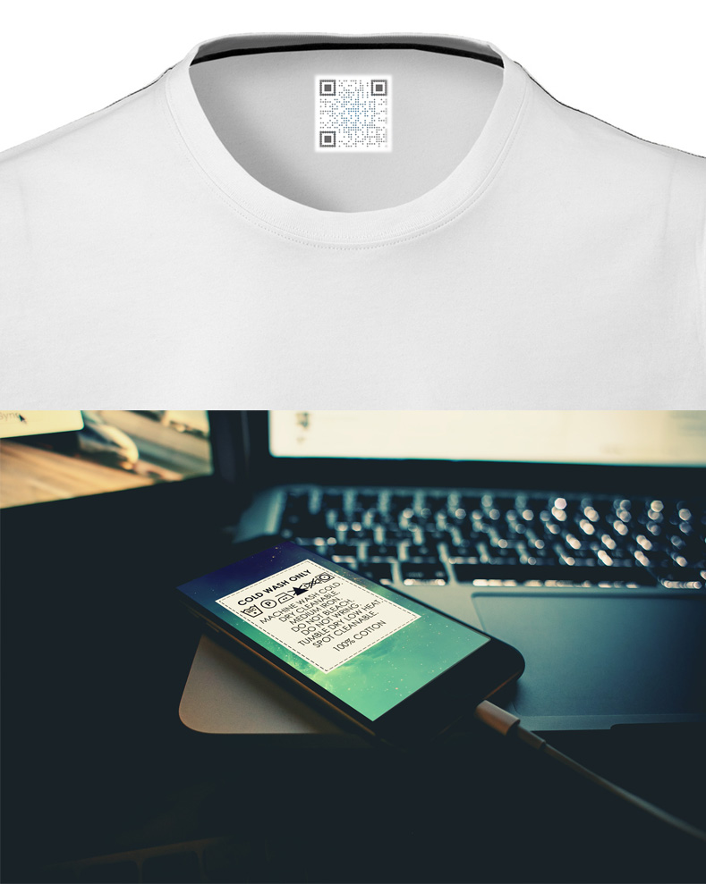 t-shirt with qr-code instead of label and mobile app